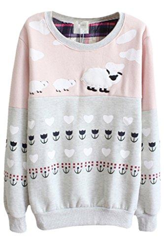 Aza Boutique pecora Lovely pattern color block a maniche lunghe Felpa Sheep2_1 Taglia unica