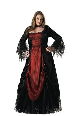 InCharacter Costumes, LLC Women's Gothic Vampira Costume, Black/Burgundy, XXX-Large