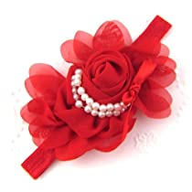 ChineOn Baby Chiffon Pearl Headband Rose Flower Photography Prop(Red)