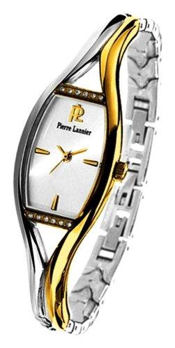 Pierre Lannier - 081G721 - Montre Femme - Métal Bicolore avec strass - Quartz Analogique - Cadran Blanc - Bracelet Métal Bicolore