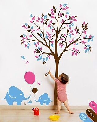 Nursery Tree With Leaves Cute Elephants Balloons Kids Room Decoration Kr042 front-881220