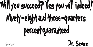 Dr. Seuss Wall Quotes Will You Succeed? Yes You Will Indeed! -Wall Quote-wall Sayingsl-wall Decal-vinyl Wall Lettering-wall Sayings-home Art Decor Decal by Global Sign Images, Inc