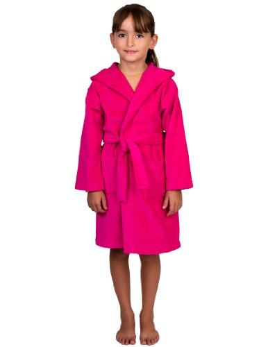 Towelselections Little Girls' Turkish Cotton Hooded Terry Velour Kids Bathrobe Cover-Up Size 4 Dark Pink front-964914