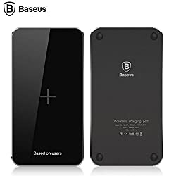 Wireless Charger Pad for All Qi Enabled Devices, Baseus® 5V 2A Qi Wireless Quick Charge Charging Pad for Galaxy S7, S7 Edge, S6, S6 Edge Plus+, S6 Edge, Note 4/5, LG G4/G5, Nexus 4/5/6, etc (Sky Grey)