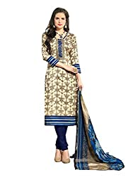 Inddus Women Cream & Blue Printed Handloom Cotton Dress Material