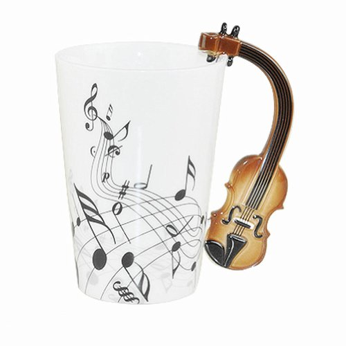 Moyishi Violin Scores Notes Holds Tea Coffee Milk Ceramic Mug 300Ml 1Pc Best Nice Gift