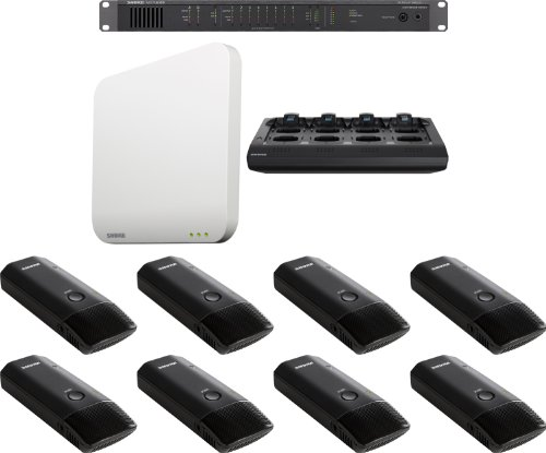 Shure Mxws8B/C Microflex Wireless 8 Channel Conference Room System With Cardioid Boundary Micophone Transmitters