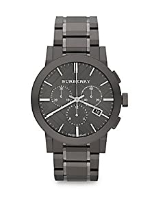 Burberry Men's BU9354 Large Check Gray Ion Plated