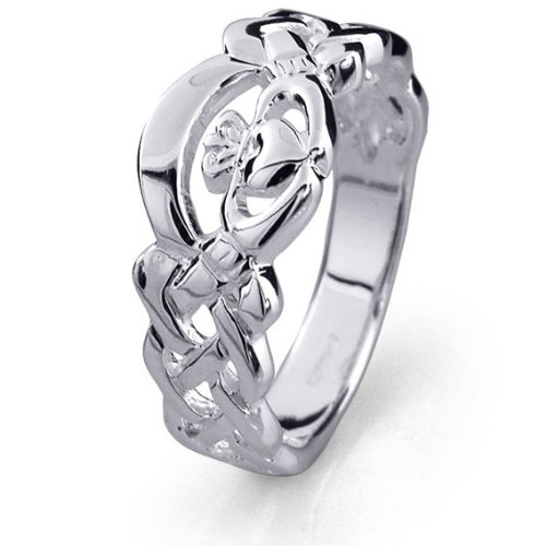 Ladies Sterling Silver Claddagh Ring LS-RS900B. Made in Ireland. (7.5)