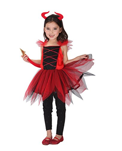 [Nouqi® Sweet Girls Devil Costumes Child Red Dress Halloween Costumes (Large,7-9 Years)] (Devil Girl Outfit)