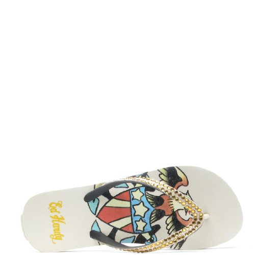 Ed Hardy Glitz Flip Flop for Women -Off White new high quality replacement projector lamp dt00893 cpa52lamps with housing for hitachi ed a10 ed a101 ed a111 happy bate
