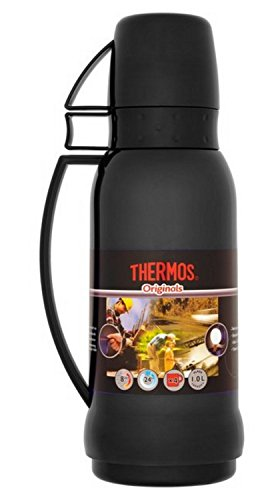 thermos-originals-1-litre-drinks-flask-in-black-glass-vacuum-insulated-with-2-x-cups