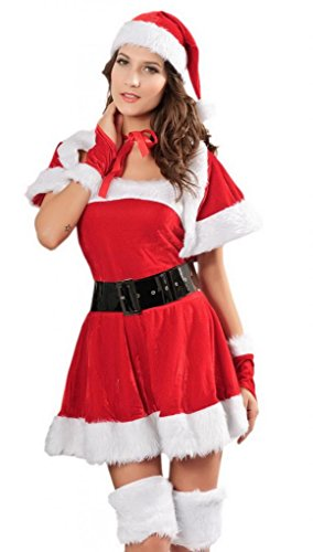 Bigood Women 5 set Winter Santa Christmas Princess Costume Santa Babe Outfit