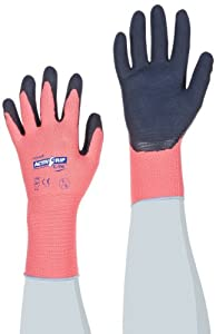 ActivGrip 55-AG315/S 13-Gauge Lite Latex Dipped Chemical Resistant Gloves with Micro Finish Grip, Black/Pink, Small, 1-Dozen
