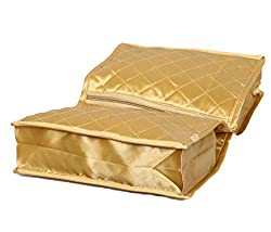 Kuber Industries Quilted Satin Lingerie Cover / Undergarments Kit / Multipurpose Kit (Golden)