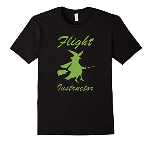 Men's Flight Instructor Funny Witch Halloween Costume T-Shirt Tee XL Black ()