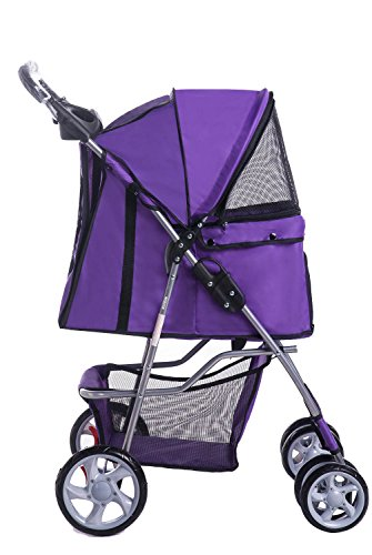 Merax Purple Four Wheels Folding Pet Stroller Travel Carrier (Fascinating Purple)