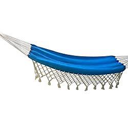 Hangit Mexican Brazilian Cotton Fabric Hammocks swings with Natural Fringes (Ocean Blue Combo)