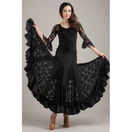 華やか レディース 社交ダンス ドレス 衣装 透け レース フリル ロング スカート 上下 2ピース シルク 黒 XL 大きいサイズ ダンス 【GreeParty】