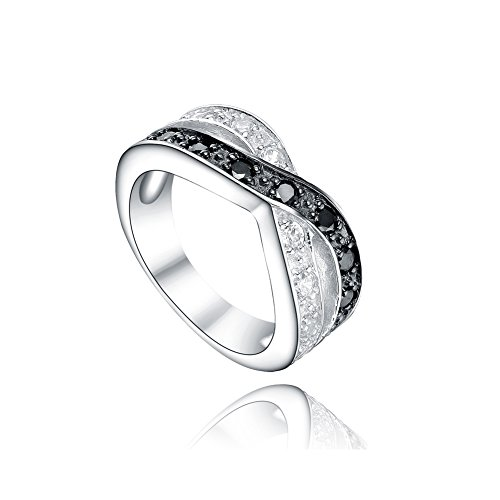 925 Sterling Silver Ring With High Quality Cubic Zircon Black & White