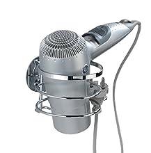 Wenko 21779100 Turbo-Loc Haartrocknerhalter - Befestigen ohne bohren, Edelstahl rostfrei, 12,5 x 9 x 11,5 cm, glänzend