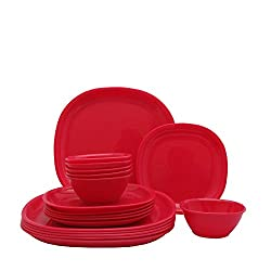 Incrizma Plastic Square Plate and Bowl Set, 18-Pieces, Red
