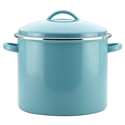 Farberware 46497 Enamel-on-Steel Large Covered Stockpot, 16 quart, Aqua