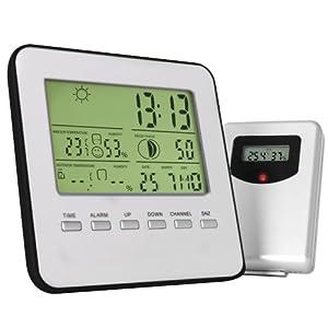 Funkwetterstation / Wetterstation inkl. Kalender, Wecker, Luftfeuchtigkeits-Anzeige, Wetterprognose (silber)