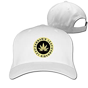 Outdoor Golden Cannabis Leaf Sport Hunting Peak Hat Cap White
