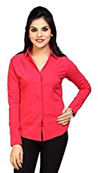 Carrel Brand Imported Cotton Fabric Solid Full Sleeve Shirt Red Colour Women L Size.