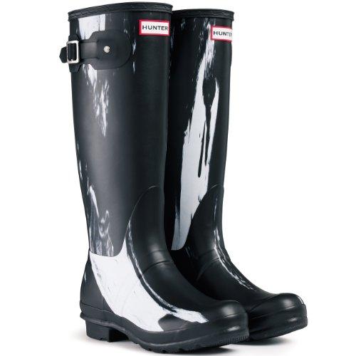 Womens Hunter Original Nightfall Festival Wellies Snow Rain Winter Boots - White/Black - 8