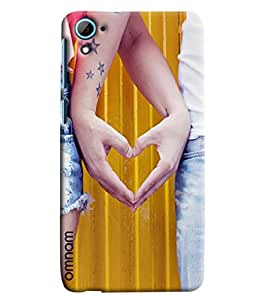 Omnam Girl And Boy Making Heart By Hands Printed Designer Back Cover Case For HTC Desire 626