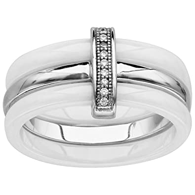 So Chic Jewels - Ladies 925 Sterling Silver White Cubic Zirconia White Ceramic 3 Bands Ring