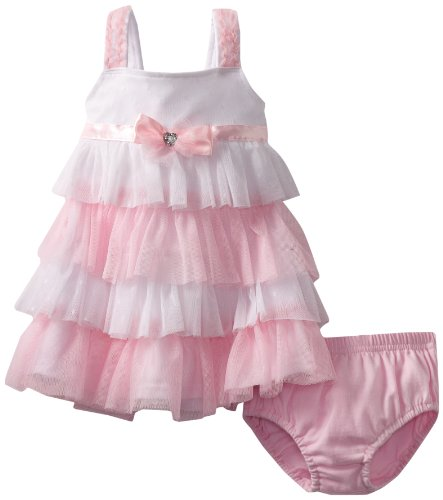 Nannette Baby-Girls Infant 2 Pieces Knit Dress And Panty, Pink, 18 Months
