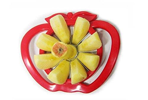Stainless steel Corers, iZEEKER fruit slicer fruit cut apple fruit separator device fruit splitter fruit knife kitchenware (Red)
