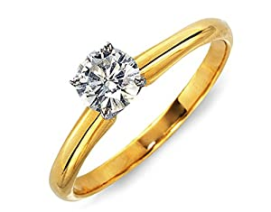 Certified 0.70 Ct. Diamond Solitaire Engagement Ring (H/SI1) White/Yellow Gold (yellow-gold, 6)