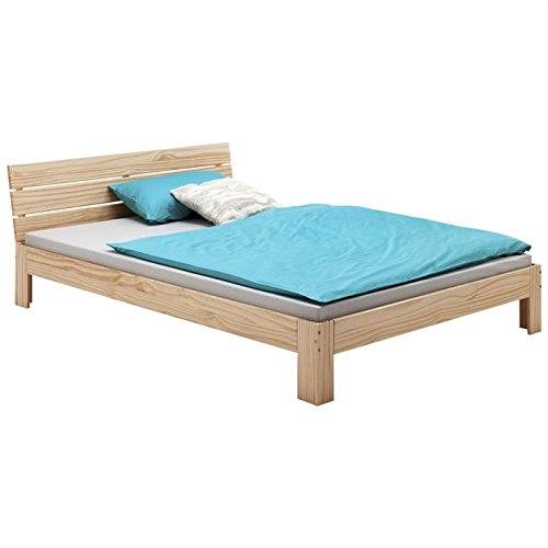 Bett Doppelbett Bettgestell mit Kopfteil THOMAS, Kiefer massiv, 140x200 cm, natur