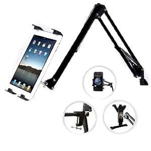 Tablet Mount, GMYLE® Black Adjustable Swing Arm Tablet Holder Mount for Smartphones and Tablets
