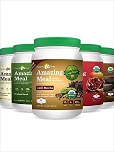 Amazing Meal - 5 Bottles / 5 Flavors - Original, Chocolate, Vanilla, Mocha & Pomegranate - Organic Vegan / Vegetarian Protein Powder Meal Replacement - Diet & Weight Loss Replacement - Diet & Weight Loss
