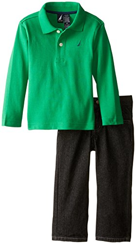 Nautica Little Boys' 2 Piece Set Long Sleeve Solid Polo Twill Pant, Spartan, 3T