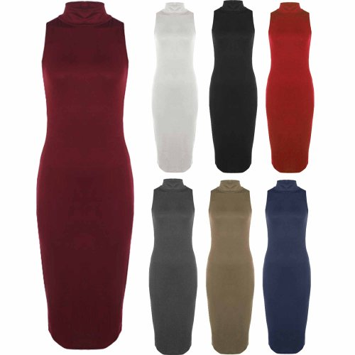 Womens Ladies Plain Turtle Polo Neck Stretch Bodycon Long Midi Dress Size 8-14