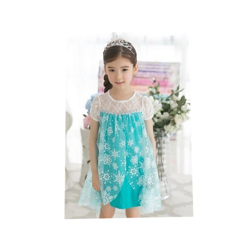 Super cute Korea kids clothes Ana and snow Queen Frozen Elsa Elsa Queen style dress princess dress for children one piece cosplay costume Ruleronline (blue 120 cm)