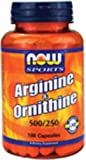 Now Foods L-Arginine and Ornithine 500/250 mg 100 Capsules