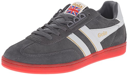 Gola Men's Europa Suede Fashion Sneaker, Graphite/Grey/Red, 13 M US