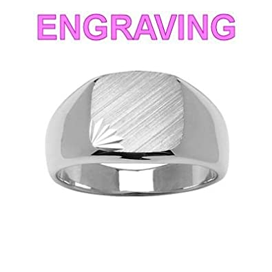 So Chic Jewels - 925 Sterling Silver Rounded Square Motif Signet Ring - Your Message Engraved Free