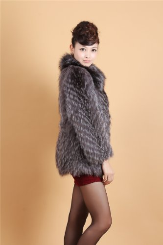 Bafei Fashion Winter 100% Real Silver Fox Fur Coats Jacket Outerwear Warm (M, As photo)