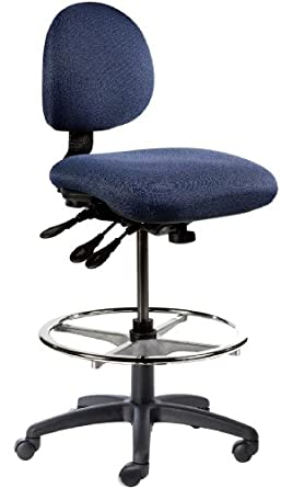 "BodyBilt J206 F1 Blue Fabric Stool with 5.5"" Height Adjustment, 12"" Length x 14"" Width Backrest, Grade 3"