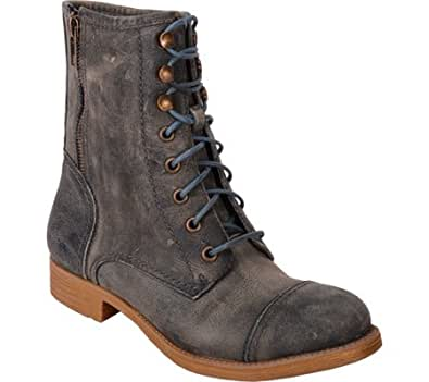 BedStu AFFAIR Women's Combat Boots (6, Blue Greenland)