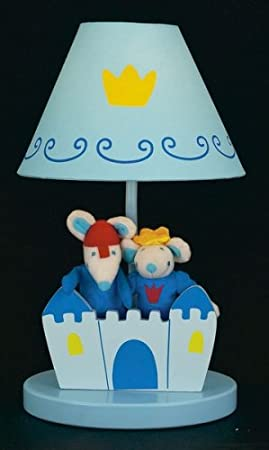 Sue Bee Nursery Children's Ginna Lamp - Blue Castle with Plush Twin Mice