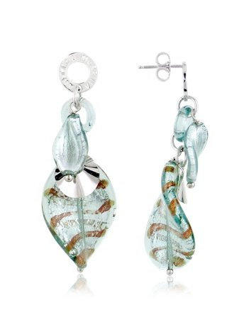 Antica Murrina Twister - Murano Glass and Sterling Silver Drop Earrings Grey